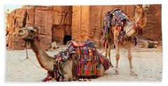 Petra Camels Beach Towel
