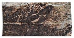 Petroglyph Bird Beach Towel