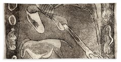 Petroglyph - Horse Takhi And Stones - Prehistoric Art - Cave Art - Rock Art - Cave Painters Beach Towel