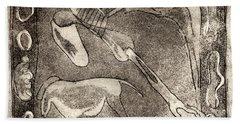 Petroglyph - Horse Takhi And Stones - Prehistoric Art - Cave Art - Rock Art - Cave Painters Beach Sheet