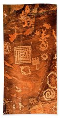 Petroglyph Symbols Beach Sheet by Phyllis Denton