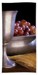 Pewter Chalice Grapes Wheat Communion Beach Towel