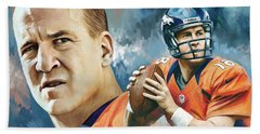 Peyton Manning Artwork Beach Towel by Sheraz A