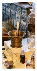 Pharmacist - Brass Mortar And Pestle Beach Towel by Paul Ward