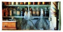 Beach Towel featuring the photograph Pharmacist - Glass Funnels And Barber Pole by Susan Savad