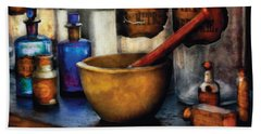 Pharmacist - Mortar And Pestle Beach Towel by Mike Savad