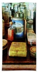 Beach Towel featuring the photograph Pharmacy - Cough Remedies And Tooth Powder by Susan Savad