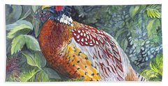 Pheasant In The  Grass Beach Towel