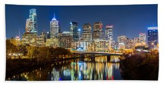Philadelphia Cityscape Panorama By Night Beach Towel
