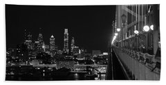 Philadelphia Night B/w Beach Towel