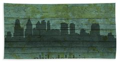 Philadelphia Pennsylvania Skyline Art On Distressed Wood Boards Beach Sheet by Design Turnpike