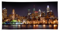 Philadelphia Philly Skyline At Night From East Color Beach Towel