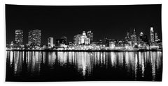 Philadelphia Skyline Panorama In Black And White Beach Towel by Bill Cannon