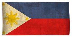 Philippines Flag Vintage Distressed Finish Beach Towel