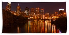 Philly Lights Reflected Beach Sheet by Michael Porchik