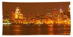 Philly Skyline Panorama Beach Sheet by Adam Jewell