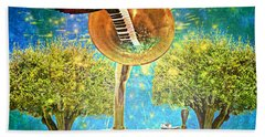Phonograph Magic Beach Towel by Ally  White