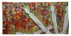 Picket Fence Flower Garden Beach Towel