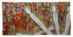 Picket Fence Flower Garden Beach Towel