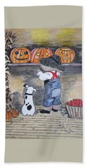 Picking Out The Halloween Pumpkin Beach Sheet by Kathy Marrs Chandler