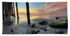 Pier And Sunset Beach Towel