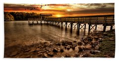 Beach Towel featuring the photograph Pier At Smith Mountain Lake by Joshua Minso