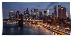 Beach Sheet featuring the photograph Piercing Manhattan by Mihai Andritoiu
