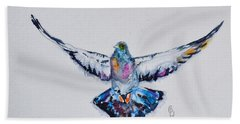 Pigeon In Flight Beach Towel