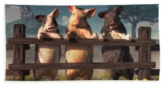 Pigs On A Fence Beach Towel by Daniel Eskridge