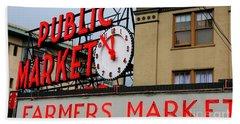 Pike Place Farmers Market Sign Beach Towel