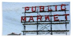 Pike Place Market Beach Towel by Linda Woods
