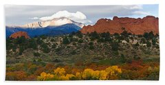 Beach Towel featuring the photograph Pikes Peak Fall Pano by Ronda Kimbrow