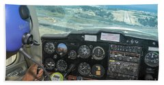 Pilot In Cessna Cockpit Beach Towel