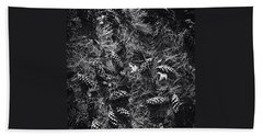 Pine Cones And Patterns - Monochrome Beach Towel