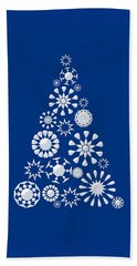 Pine Tree Snowflakes - Dark Blue Beach Sheet