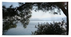 Beach Towel featuring the photograph Pine Trees Overhanging The Aegean Sea by Tracey Harrington-Simpson