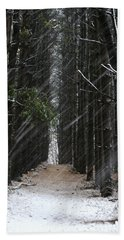 Pines In Snow Beach Towel