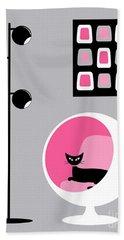 Pink 1 On Gray Beach Towel
