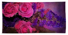 Pink And Purple Floral Bouquet Beach Towel