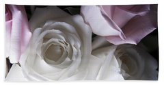 Pink And White Roses Beach Sheet