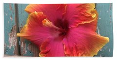 Tropical Pink And Yellow Hibiscus  Beach Sheet