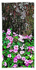 Pink Blooms In The Forest Beach Towel by Miriam Danar