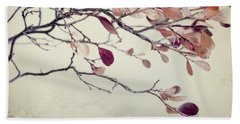 Pink Blueberry Leaves Beach Towel