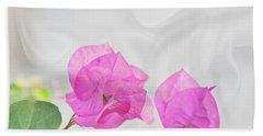 Pink Bougainvillea Flowers On White Silk Art Prints Beach Sheet