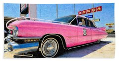 Pink Cadillac Beach Sheet by Liane Wright