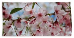 Pink Cherry Blossoms Beach Towel by Jocelyn Friis