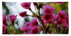 Pink Cherry Blossoms Beach Towel by Pamela Walton
