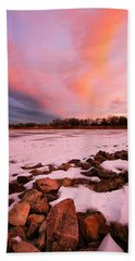 Pink Clouds Over Memorial Park Beach Towel by Ronda Kimbrow