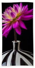 Pink Dahlia In Striped Vase Beach Towel