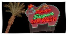 Pink Elephant Car Wash 36 X 24 Beach Towel